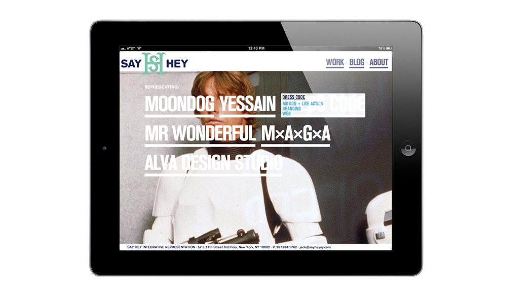 Website for Say hey representation, NYC